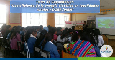 """Taller de Capacitación """"Uso eficiente de la energía eléctrica en localidades rurales – DGER/MEM"""""""